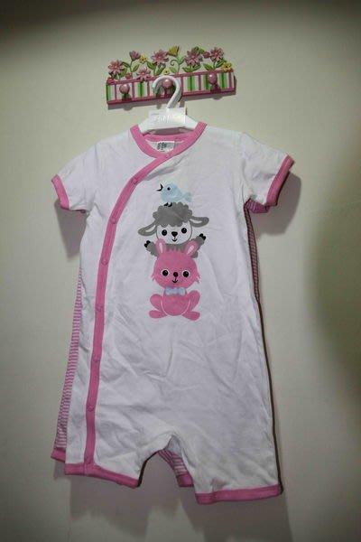 H&M 兔子綿羊鳥粉色系兩件組連身裝