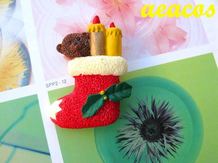 AEACOS@古董 古著 vintage 溫馨 聖誕節 聖誕襪 聖誕禮物 聖誕紅 泰迪熊 蠟燭 精緻 童趣 別針胸針