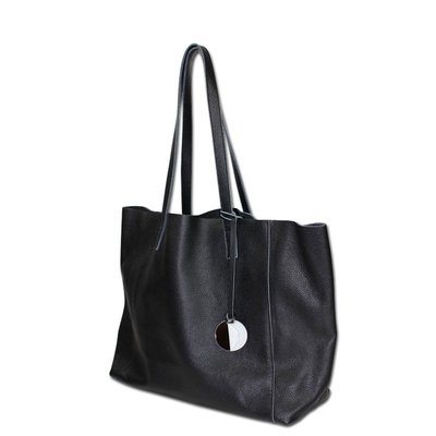手提包 真皮 托特包-黑色極簡牛皮大容量肩背女包包2款73vi11[獨家進口][米蘭精品]