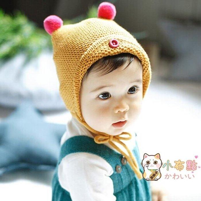 秋冬新款正韓雙球繫帶嬰兒帽男女寶寶毛線帽護耳保暖兒童套頭帽