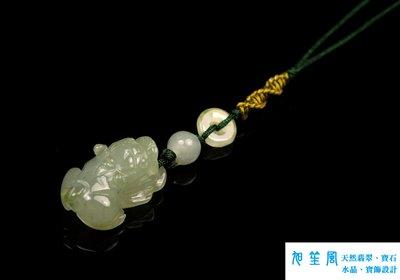 【旭笙風】天然緬甸A貨冰種放光翡翠「招財龍貔貅」創意設計吊飾