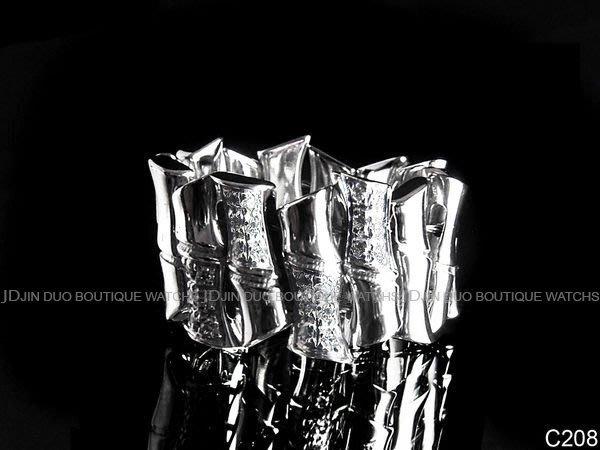 金鐸精品~C208 GUCCI 古馳 RING BAMBOO 環狀竹節 18白K金 鑲鑽戒指 近全新品