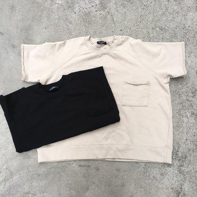 【inSAne】韓國購入 / 寬鬆 / 不收邊 / 口袋 / 短TEE / 黑色 & 卡其