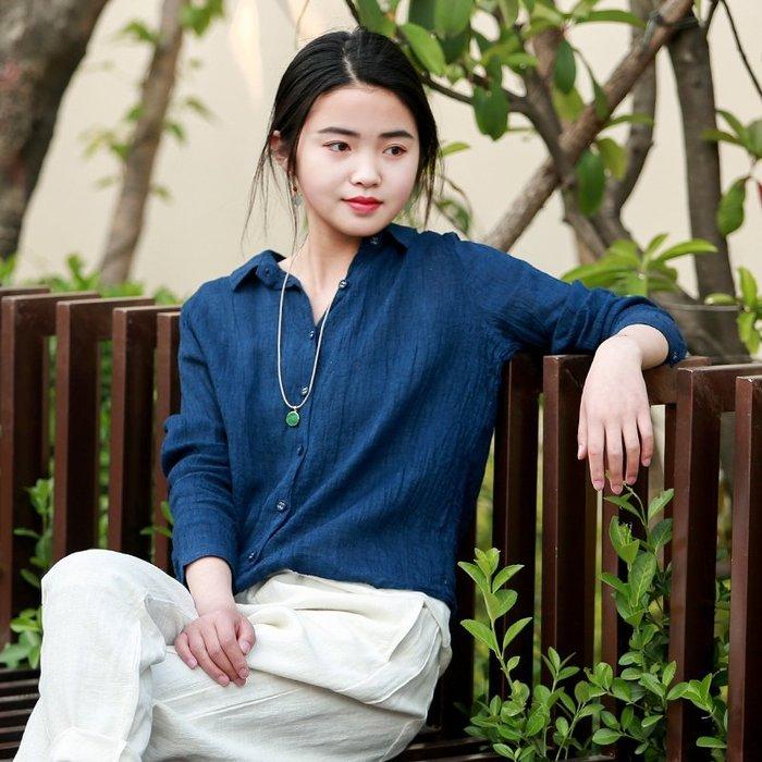 【鈷藍家】棉麻臆想 原創香雲夏薄款色織肌理亞麻萊賽爾襯衫顯瘦百搭上衣防曬衫