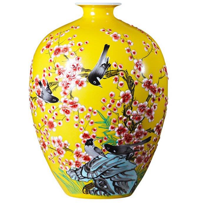 5Cgo【茗道】景德鎮陶瓷器花瓶擺件插花新中式家居客廳酒櫃裝飾品工藝手繪瓷瓶瓷質細膩喜上眉梢3486576333337