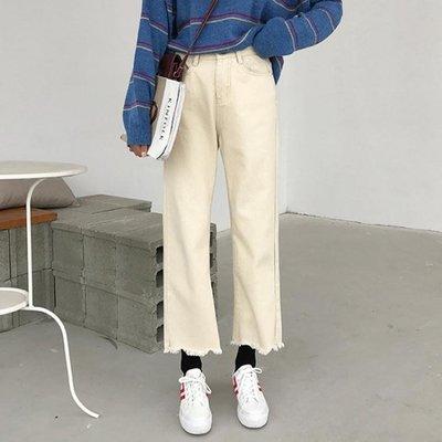【栗家生活】夏季新款女裝韓版不規則毛邊休閒高腰牛仔褲寬鬆撕邊九分寬管褲潮