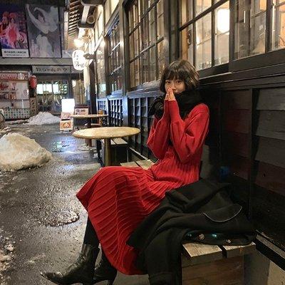 【UBY】時髦內搭王!紅色高領針織連衣裙◄No12310