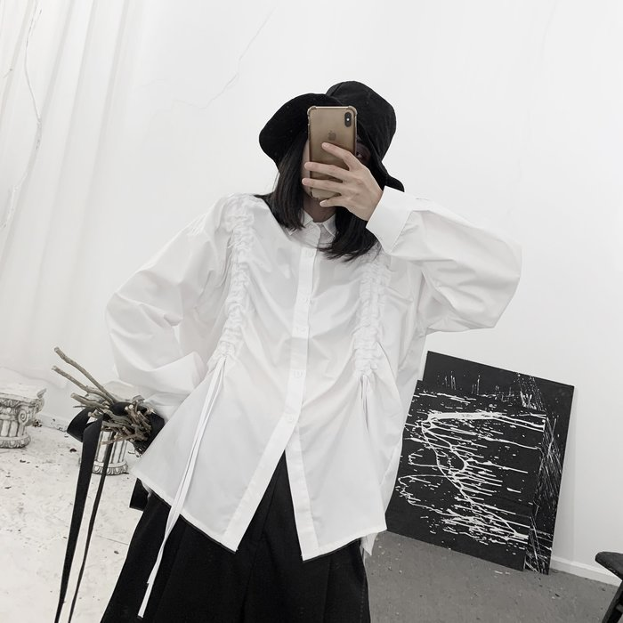 ||一品著衣|| 山本風暗黑系小眾暗黑先鋒抽皺褶皺廓形寬鬆長袖襯衫 黑白2色 YM