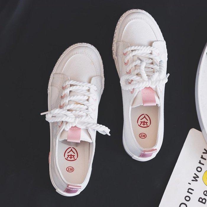 小白鞋帆布鞋女夏季百搭學生春季新款2019韓版女鞋透氣板鞋小白鞋子