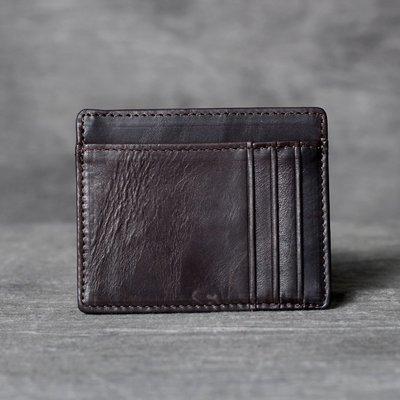 名片夾真皮信用卡夾-薄款多位牛皮實用男女皮夾2色73vp12[獨家進口][米蘭精品]