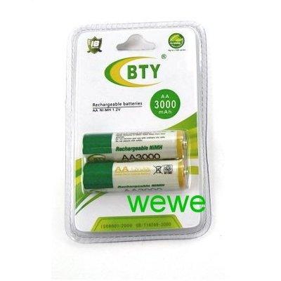 大容量 鎳氫充電電池 AA-型號3000 led腳踏車車燈/手電筒/ 模型遙控/數位相機/無線電話均可