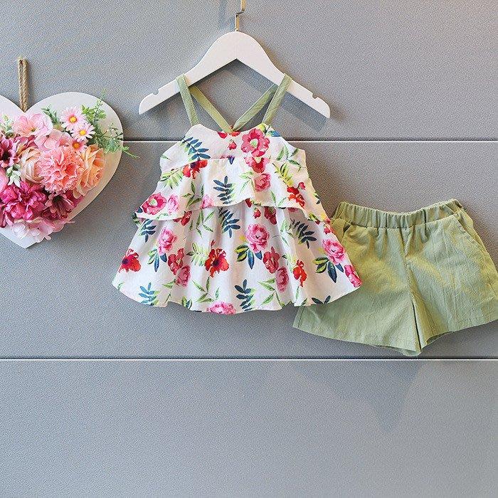 【溜。溜。選物】女童套裝 1+1印花吊帶上衣+短褲套裝