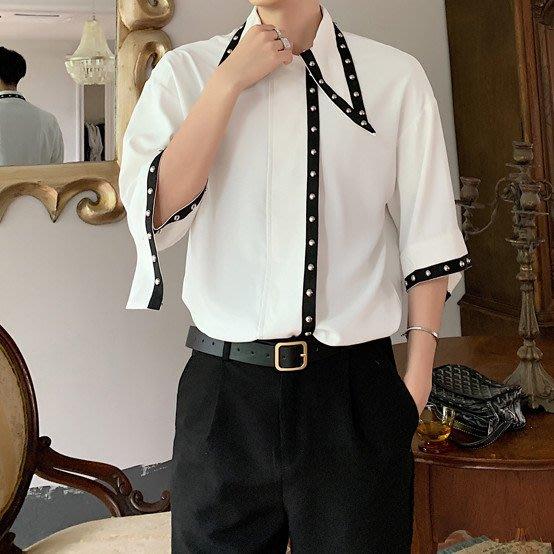 FINDSENSE品牌 訂製 韓系男裝 G6 夏季柳釘裝飾正韓短袖男白襯衫五分袖潮牌洋裝簡約寬鬆黑色白色