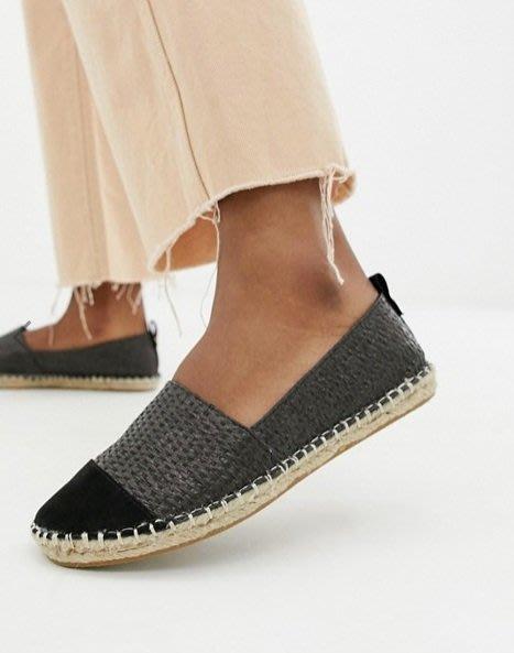 ◎美國代買◎ASOS竹編鞋身搭配絨質感黑楦頭黑色雙材質英倫時尚街風雙材質草編鞋平底鞋