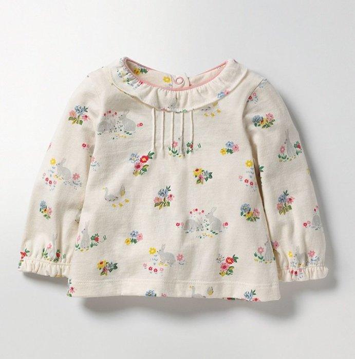 ☆草莓花園☆BST-51165花邊小兔 歐美風兒童長袖衣服 純棉童T 女童  童T恤