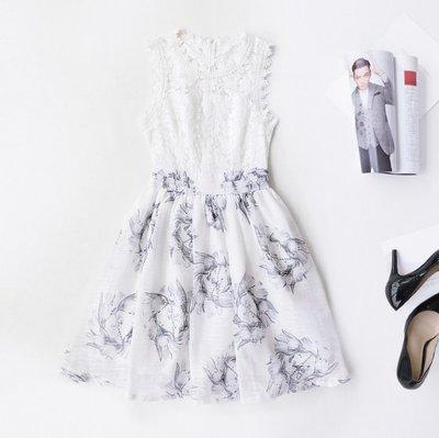 超低價-無袖洋裝白色圓領蕾絲拼接黑白色印花公主裙無袖洋裝許願魔鏡@wishing Mirror-*-D16BDR546