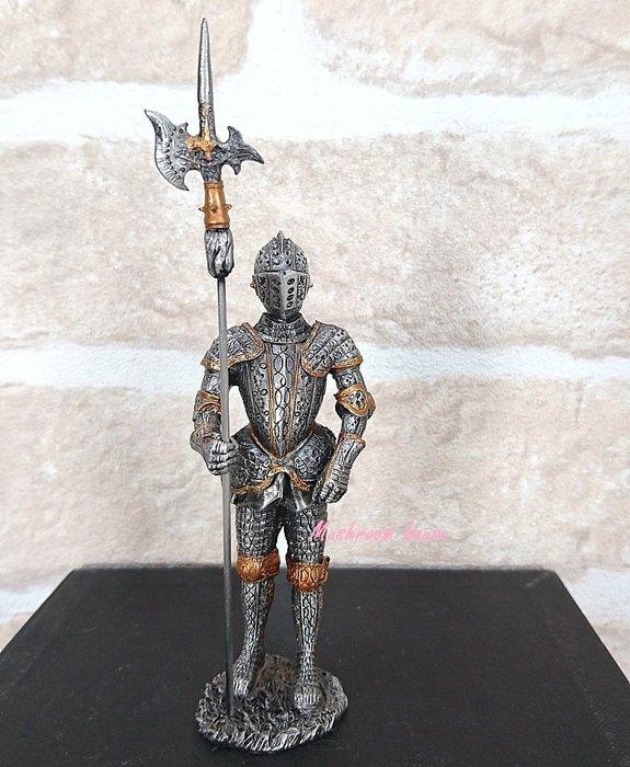 點點蘑菇屋{合金武士擺飾}合金中古武士(十)~右手拿長槍 鐵甲武士 歐洲中古世紀羅馬 盔甲武士 現貨