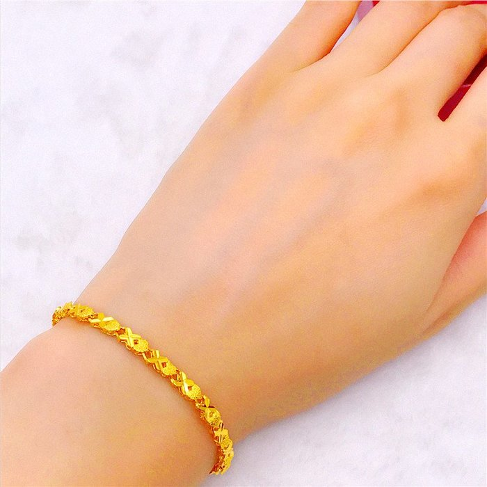 送禮佳品 仿黃金裝飾品 手鏈女鍍金時尚四葉草心形手鏈 仿沙金首飾久不掉色