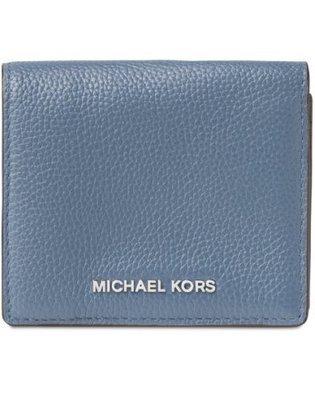 Coco小舖 Michael Kors Mercer Carryall Card Case 灰藍色皮革短夾