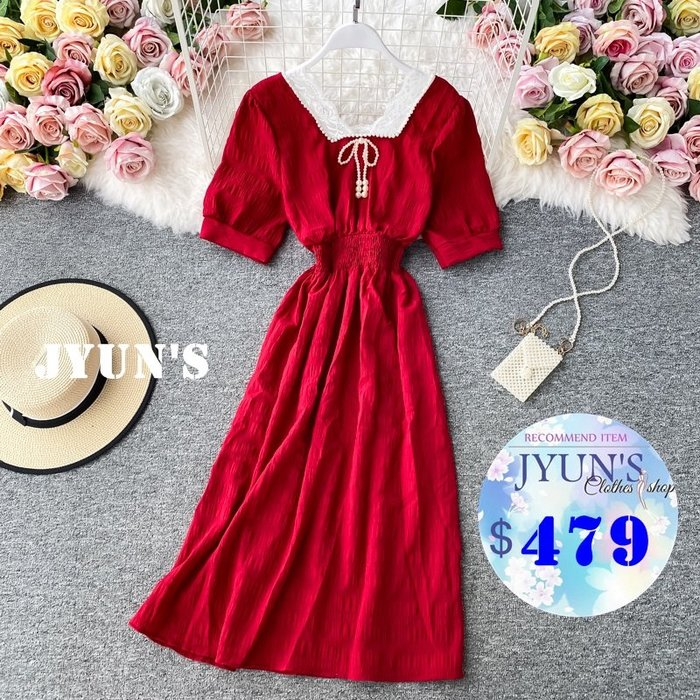 JYUN'S 春夏新款復古方領珍珠蕾絲領氣質收腰顯瘦泡泡袖大擺長裙子短袖洋裝連身裙5色 預購