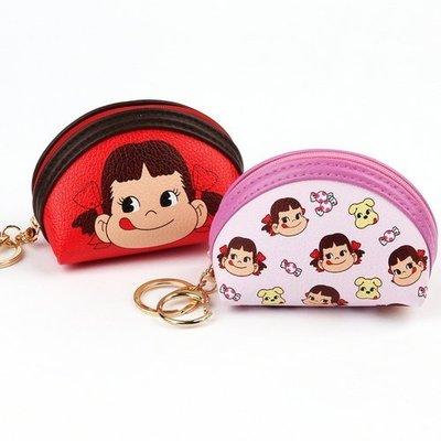 ♀高麗妹♀韓國 PEKO Coin Purse 牛奶妹 半月型皮革拉鍊零錢包/零錢小物萬用收納包(粉紅色)現貨