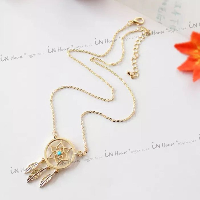 IN House*🇹🇼現貨 necklace 印第安 復古民俗風 捕夢網 項鍊 樹葉 羽毛 流蘇 金色 項鏈