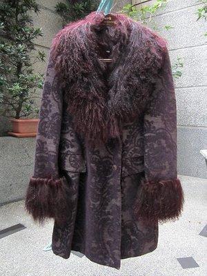 美國頂級名牌【ANNA SUI】安娜蘇 女生 深紫色 皮草 長版外套 大衣 4號 二手 美國製造 保證正品/真品 現貨