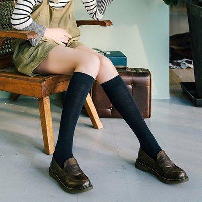 少女 小腿襪 3雙簡約顯瘦純棉純色基礎小腿襪春季新簡約百搭學院風學生中筒襪