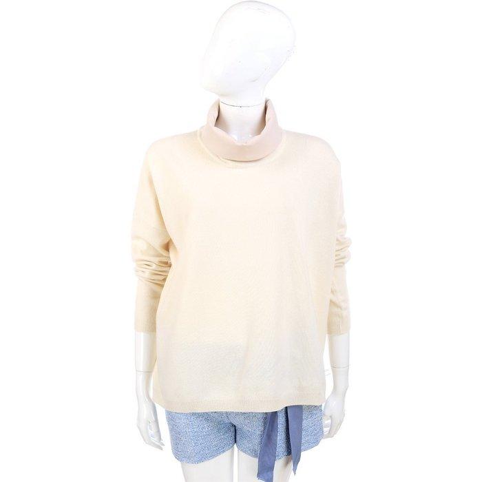 米蘭廣場 FABIANA FILIPPI 米白色拼接設計高領長袖毛衣 1340326-03