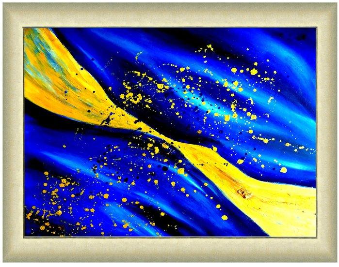 {藝術之都]手繪創作抽象~銀河天空~已完成實品拍攝  含內框可直接懸掛 台灣畫家執筆