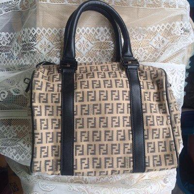 【凱莉呆】Fendi 真品 正品 二手 少用 真皮手提經典緹花布波士頓包
