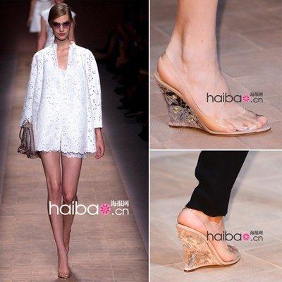 Hot shop 水鉆坡跟高跟鞋涼鞋 魚嘴鞋 水晶鞋透明女鞋