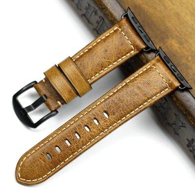 錶帶 手錶配件手工意大利油蠟皮表帶 apple watch  3 4代42 44MM復古真皮男表帶