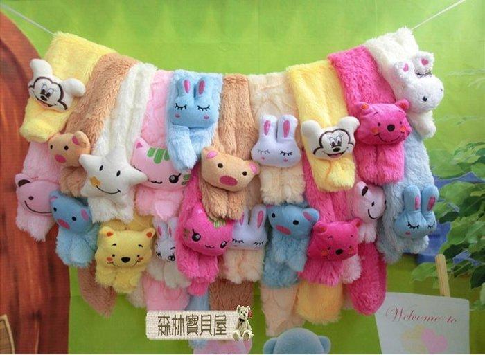 森林寶貝屋~可愛糖果色寶寶圍巾~卡通珊瑚絨動物圍巾~兒童保暖圍巾~多色發售