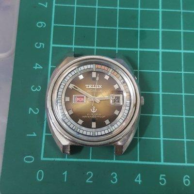 大錶徑 TELUX機械錶 尚不走 漂亮 非 z4 Rolex OMEGA SEIKO CITIZEN J12 ORIENT FOSSIL ck lv GUCCI