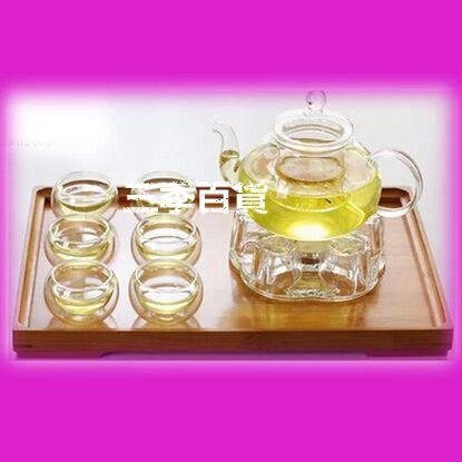 三季無色透明泡茶杯雙層耐熱小杯子水杯帶蓋茶具玻璃杯 套裝 花 水壺❖706