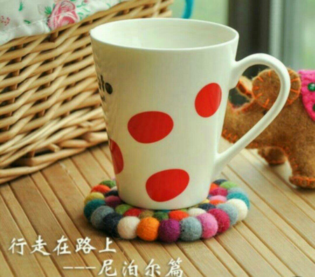 尼泊爾手工製作羊毛氈彩色杯墊(直徑約10cm)
