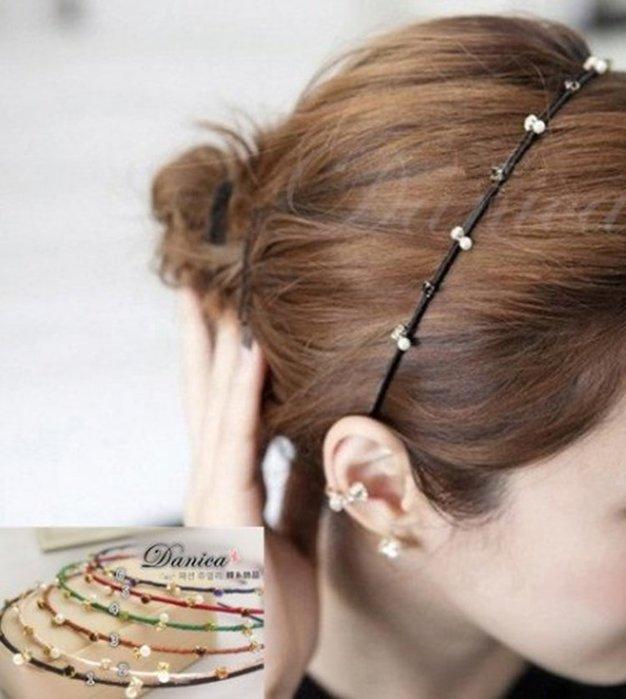 髮飾 現貨 韓國熱賣甜美手作簡約百搭水鑽珍珠細髮箍(6色)K7348單個價 批發價 Danica 韓系飾品 韓國連線