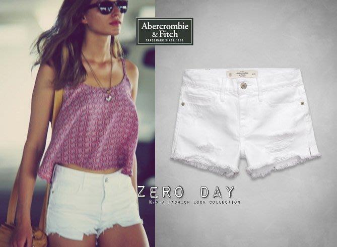 【零時差美國時尚網】A&F Abercrombie&Fitch High Rise Shorts超正刷破高腰白色短褲