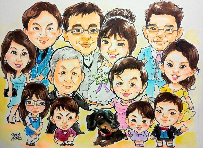 結婚紀念Q版人像素描/大家族FB:墨知似顏繪Line:mozwang