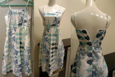 Moon's Flea Market-細肩帶水藍色印花洋裝