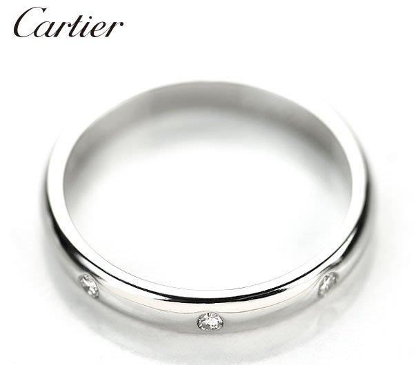 *保證真貨~知名品牌Cartier卡地亞-1895經典款 3顆鑽 PT950鉑金鑽戒46號(適合尾戒) ~超低價起標