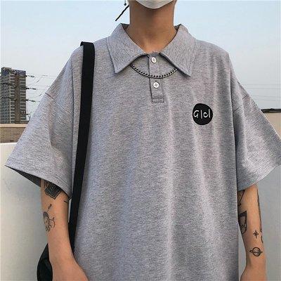 東家style 19韓國復古香港正韓簡約字母印花polo短袖T恤 男女款