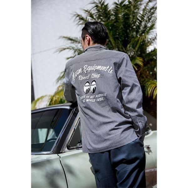 (I LOVE樂多) MOONEYES Choice of Hot Rodders 工作襯衫 背部印刷 直條紋襯衫