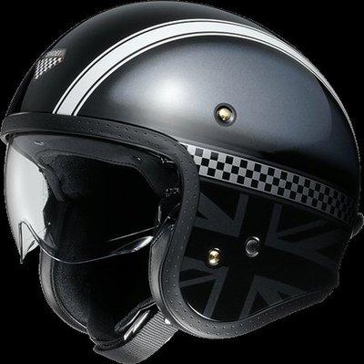 《鼎鴻》SHOEI 半罩式3/4復古潮流帽 J・O HAWKER TC-5  黑/銀