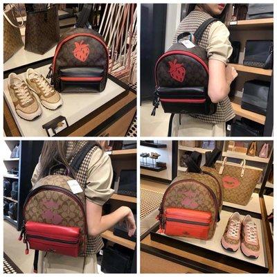 (Outlet特惠)COACH 78252 新款女士草莓圖案印花雙肩包 後背包 附購買證明