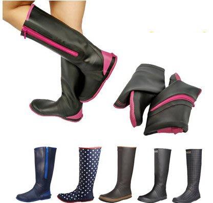 日本柔軟男女同款高筒雨靴平底折疊插秧鞋 輕便橡膠園藝水鞋