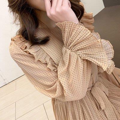 2019-復古木耳邊顯瘦波點雪紡百褶裙女長袖連身裙S122BoBo衣著森林在台現貨