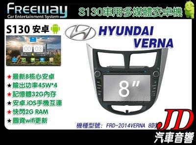 【JD 新北 桃園】FREEWAY HYUNDAI VERNA 2014 DVD/數位/導航 8吋 S130。安卓機