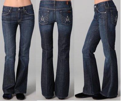 在台現貨**Piggy-全新真品SEVEN FOR MANKIND 超美A Pocket彈性靴型牛仔褲(SIZE 26)
